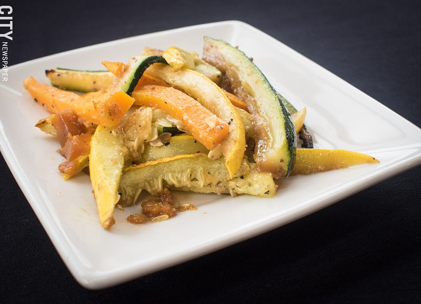 Roasted zucchini and butternut squash at Caribbean Heritage Restaurant. - PHOTO BY JACOB WALSH
