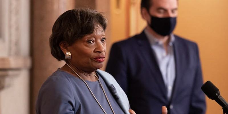 New York State Senate Leader Andrea Stewart-Cousins announces that her party has gained a veto proof supermajroty after absentee ballots were counted. Senate Deputy Leader Mike Gianaris, who engineered the campaigns, is at right.