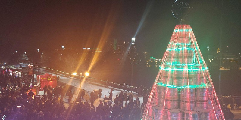 The 2019 Genesee Keg Tree lighting.