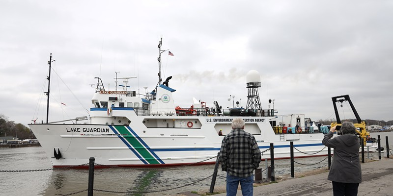 The U.S. Environmental Protection Agency's largest research vessel, the Lake Guardian, leaves the Port of Rochester where it had docked over night. Scientists aboard the ship collect data to evaluate water quality, sediment, and animal and plant life.