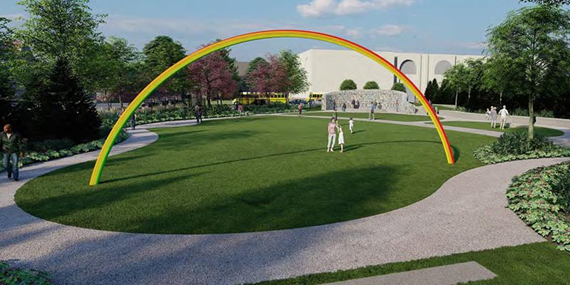 """The second phase of the Memorial Art Gallery's Centennial Sculpture Park will include """"Lover's Rainbow"""" by Pia Camil."""