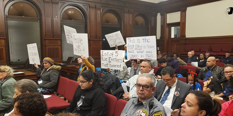 Housing activists turned out for Tuesday night's City Council meeting to support a rental vacancy study, which is necessary to opt into state rent stabilization laws.