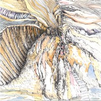 """""""Bill Stephens: Drawing from Within"""" A group of spirit-forms cluster together on a rocky coastline in Stephens's ink and watercolor piece, """"Coming Ashore."""" PHOTO PROVIDED"""