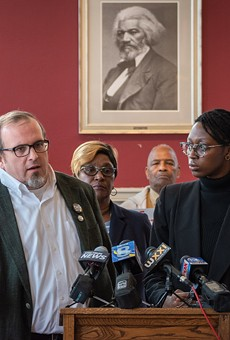 Police-oversight activists Ted Forsyth, left, and Stanley Martin, at a press conference last week urging passage of the Police Accountability Board referendum.