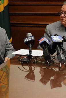 Monroe County Legislature Republican Majority Leader Brian Marianetti and legislature President Joe Carbone.