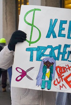 The Rochester Teachers Association organized a rally Thursday to protest proposed teacher layoffs.