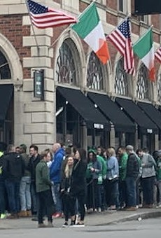 The line at an East End bar on March 14, 2020, after Monroe County had declared a state of emergency over the coronavirus and federal and state officials urged people to practice social distancing.