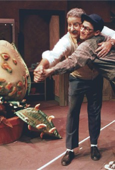 """Herb Katz (left), JCC CenterStage founding artistic director, and Ralph Meranto, current JCC CenterStage artistic director, as Mushnik and son in """"Little Shop of Horrors"""" in 1987."""