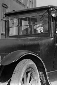 James Noey was in the front passenger seat of this Hudson taxicab on Oct. 20, 1920, when the bullet from a Fairport officer's gun was fired through the windshield and struck him in the head.