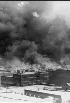 Smoke billowing over Tulsa, Oklahoma, during the 1921 massacre.