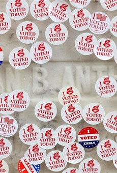 """""""I voted stickers"""" on Susan B. Anthony's grave in Mount Hope Cemetery on Election Day 2020."""
