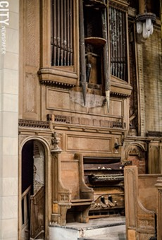 The organ inside the 1912 chapel in Mount Hope Cemetery has deteriorated beyond use. The chapel has been out of use for decades