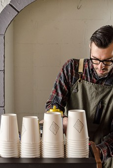 Ugly Duck Coffee owner Rory Van Grol slings espresso at Fiorella during a pop-up coffee bar last week.