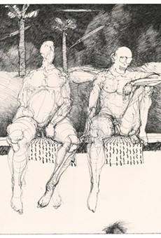 """Bob Conge's digital drypoints, """"Poolside with E.E. Cummings"""" is part of the Print Club of Rochester's anniversary show that is currently displayed at Tower Fine Arts Gallery in Brockport."""