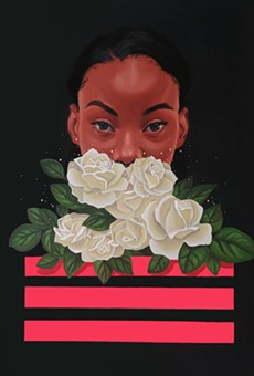 """Brittany Williams' painting """"Behind the Bliss"""" is part of her solo show, """"Ascension,"""" on view at Rochester Brainery through July 7."""