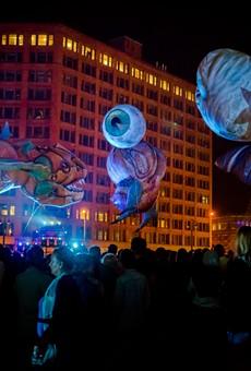 "Plasticiens Volants performed ""Big Bang"" at Parcel 5 during the 2017 Rochester Fringe Festival."