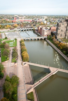 The view of the Genesee River downtown, from the top of the First Federal Building.