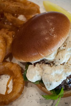 Roc Burger on Main's namesake dish, which comes out with a mountain of creamy brie, fresh cracked black peppercorn, and lemon arugula on a ciabatta roll.