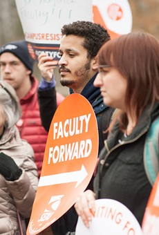 Nazareth adjunct faculty members and students showed their support of adjuncts' unionization efforts at a recent rally.