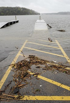 The Irondequoit Bay Marine Park's boat launch was submerged in rising water during last year's Lake Ontario flooding.