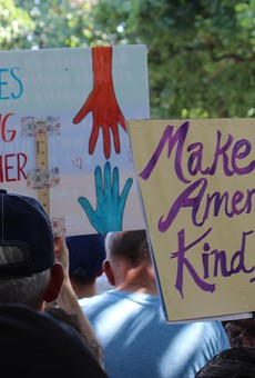 Hundreds of Rochesterians filled Washington Square Park on Saturday for the Families Belong Together rally.
