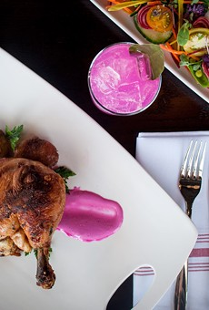 On the menu at Native Bar and Eatery: the Cast Iron Roasted Chicken, served with beet, yogurt, and spiced eggplant.