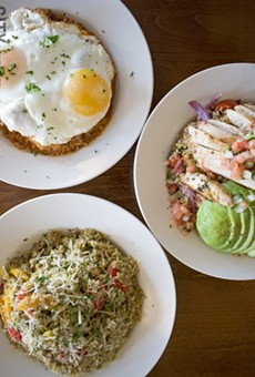 Quinoa bowls at Blades. Top: the Purgatory Quinoa with egg; right: the Saha Quinoa with chicken; and bottom left: the Pomodoro Quinoa.