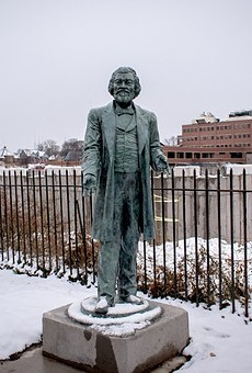 A statue of abolitionist Frederick Douglass fabricated by artist Olivia Kim.