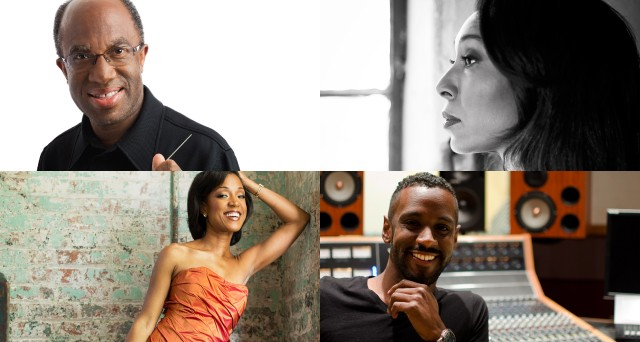 Featured musicians at this year's Gateways Music Festival include (clockwise from top left) Music Director Michael Morgan, conductor Jeri Lynne Johnson, composer Carlos Simon, and violinist Kelly Hall-Tompkins. - JOHNSON PHOTO BY VANESSA BRICENO PHOTOGRAPHY, ALL OTHER PHOTOS PROVIDED