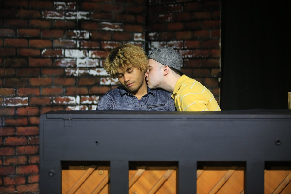 """A scene from Grey Noise Theatre Company's """"Dog Sees God"""" featuring actors Hector Manuel and Rowan Collins. - PHOTO BY ANNETTE DRAGON"""