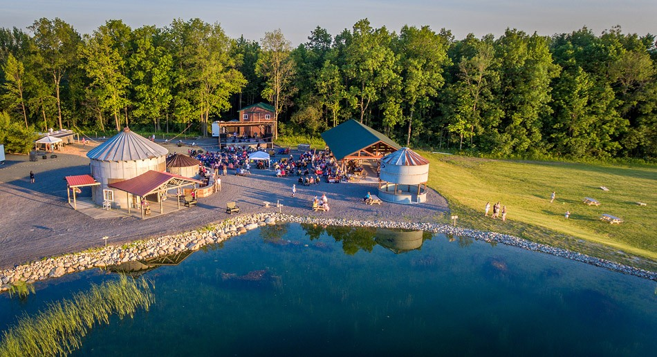 Brian Mastrosimone's picturesque, 90-acre venue Lincoln Hill Farms includes a performance stage buffered by a sizable gazebo and pond. - PHOTO BY JIM KERINS