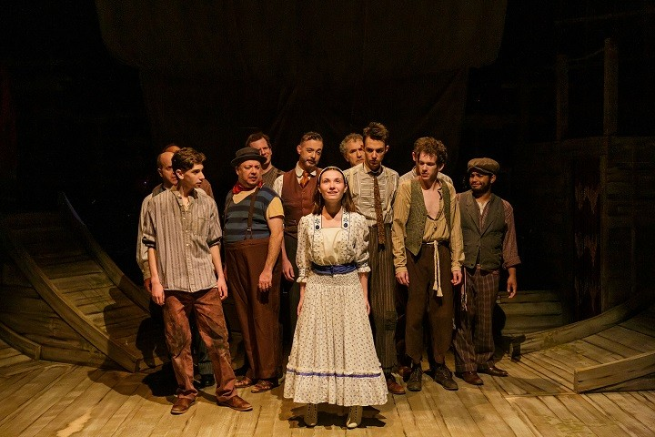"""The cast of Blackfriars Theatre's production of """"Peter and the Starcatcher,"""" with Marcella Cincotta (as Molly Aster) in the center. - PHOTO BY GOAT FACTORY MEDIA / RON HEERKENS JR."""