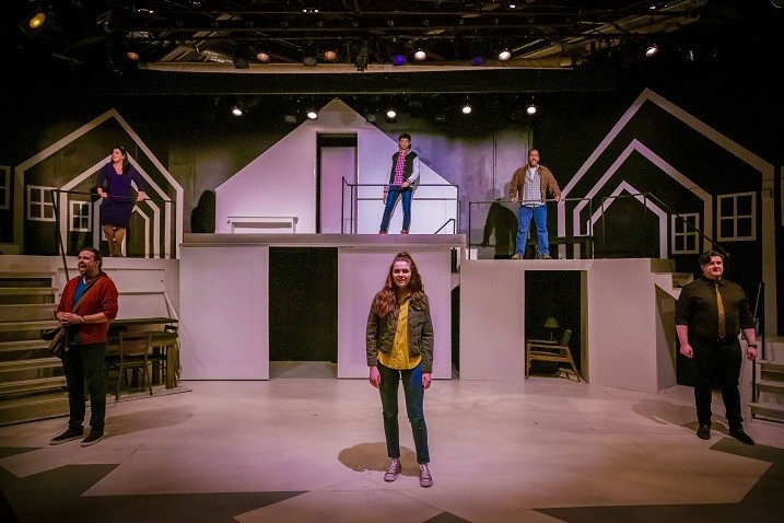 "The cast of the ambitious musical, ""Next to Normal,"" currently being staged at Blackfriars Theatre. - PHOTO BY RON HEERKENS JR PHOTOGRAPHY"