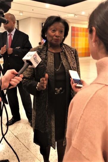 Senate Leader Andrea Stewart-Cousins speaking to reporters on February 27. - PHOTO BY KAREN DEWITT, WXXI NEWS