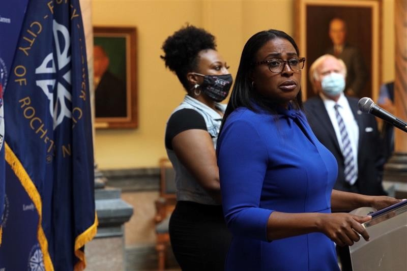 Mayor Lovely Warren addresses reporters during a City Hall news conference on Sept. 3, 2020. - PHOTO BY MAX SCHULTE