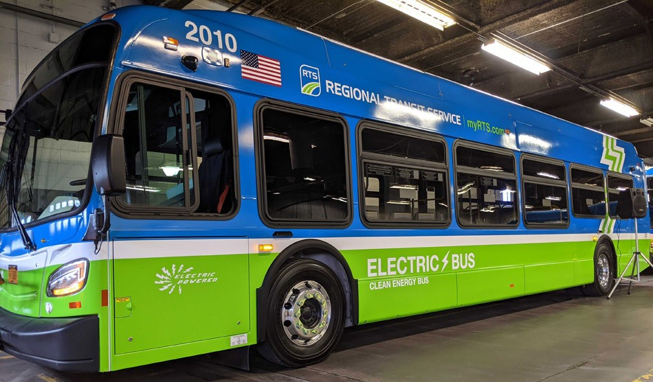 One of Regional Transit Systems's new electric buses. - PHOTO BY JEREMY MOULE