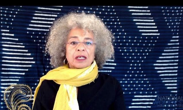 Author and activist Angela Davis, speaking at Thursday night's induction ceremony for the National Women's Hall of Fame.