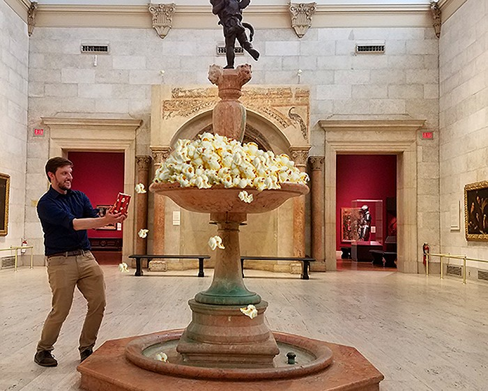 "The Little's Scott Pukos leads the movie-themed ""Little DeTOUR"" at the Memorial Art Gallery. Fountain full of popcorn not guaranteed. - PHOTO PROVIDED"