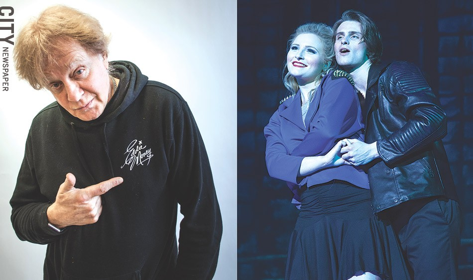 "Left: Veteran rocker Eddie Money created the Broadway-style musical ""Two Tickets to Paradise,"" based on his life. Right: Alec Nevin portrays Money and Morgan Troia plays Money's wife, Laurie, in the show. - LEFT PHOTO BY RYAN WILLIAMSON; RIGHT PHOTO PROVIDED"