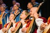 The Ukrainian Bandurist Chorus uses the bandura, an acoustic instrument with up to sixty strings, to anchor a rich melding of male choral voices in the Ukrainian folk tradition.