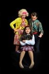 Cora Gundy, Aaliyah Nicholas, and Owen Palomaki in Matilda at A Magical Journey Thru Stages