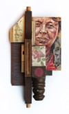 "Eleanor Roosevelt is featured in Stahl's ""Driving Force"" assemblage."