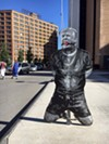 A stencil and spray paint image of Trump in bondage showed up at various locations around downtown Rochester over the weekend.