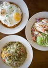 Quinoa bowls at Blades. Top: the Purgatory Quinoa with egg; right: the Saha Quinoa with chicken; and bottom left: the Pomodoro Quinoa.