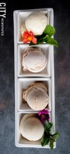 A flight of house-made sorbets (flights are not on the menu, but a rotation of sorbets are offered individually).