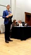 Bleu Cease, executive director of Rochester Contemporary Arts Center, was among the arts representatives who spoke last night.
