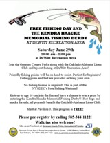 Free Fishing Day and the Kendra Haacke Memorial Fishing Derby Informational Flyer - Uploaded by Shannon Morley