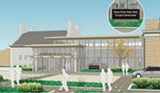 PHOTO PROVIDED - An illustration showing what will be the new entrance to the Eastman Museum, which places the entrance's visitor center and pavilion closer to the museum's parking lot.