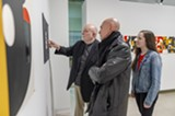 """R. Roger Remington gives a tour of his exhibition """"Formation"""" with Professor Josh Owen and design student Trista Finch. - Uploaded by Gallery r"""