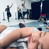 """PHOTO COURTESY MOKM CREATIVE SERVICES - Rehearsals for """"Create a Space Now"""" by Hettie Barnhill (choreographer, Broadway actor, and WOC•Art affiliate member) were held last summer at WOC•Art's studio space while Barnhill's daughter Vy slept nearby."""